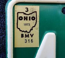 Ohio 1973 truck license plate with weight change sticker