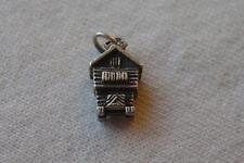 Vintage Vtg Sterling Silver Charm 3D Lodge Swiss Chalet Log Cabin House