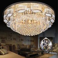 LED Crystal Art Restaurant Chandelier Living Room Circular Ceiling Light 3Color