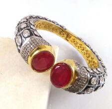 AVENTURINE & CZ Gemstone High Gold Plated Handmade Designer Cuff Bangle Bracelet
