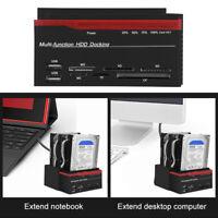 """Hard Disk Drive Dock Triple 2.5"""" 3.5"""" SATA IDE HDD Docking Station Card Reader"""