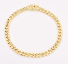 6mm Mens Miami Cuban Link Bracelet Box Clasp Real 10K Yellow Gold 8.5""