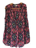 Life & Style Size 10 V Neck Sleeveless Turkish Print blouse. 100% Viscose.