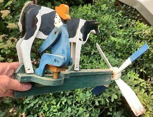 """Vintage/Antique Whirligig Farmer ~ Milking ~ Cow - Folk Art """"Stamped"""""""