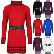 Acrylic Long Sleeve Dresses for Women with Belt