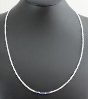 Regenbogen Mondstein mit Saphir Kette edelsteinkette feingeschliffen Blau 45 cm
