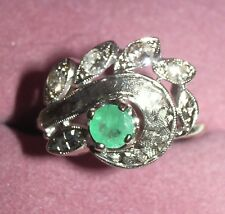 Emerald and diamonds 14k white gold vintage ring size 7