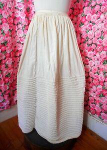 RARE1840-1860s Antique Civil War handsewn quilted cotton slip petticoat jpiping.