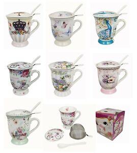 Teetasse mit Deckel 300 ml und Sieb Becher Porzellan für Losen Tee oder Beutel