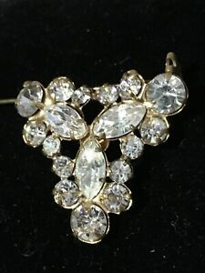 Genuine Art Deco Gilt Austrian Crystal Brooch