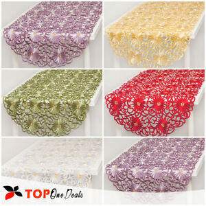 Embroidered Table Runners Square/Oval Tablecloths Floral 85x85cm or 60x120cm New