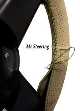 FOR MERCEDES-BENZ W123 BEIGE PERFORATED LEATHER STEERING WHEEL COVER GREEN ST