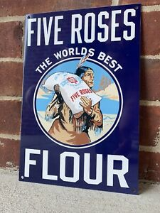 12in FIVE ROSES FLOUR with Indian Vintage Style Steel Metal Sign