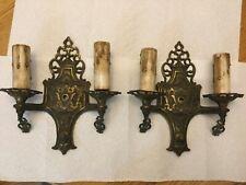 Antique, Art Deco wall sconces, Cast metal , bronze finish, double arm