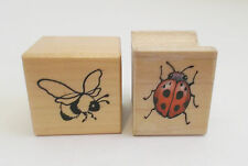 Two Little Bug Rubber Stamps Vintage 90s Bumblebee A-608 Ladybug 410A Wood Mount