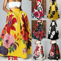 Women Bohemian Floral Print Skirt High Waist Party Holiday Beach Long Maxi Dress