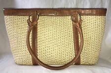 THE BRIDGE Straw Tote Bag Purse Handbag with Tan Leather Trim-RARE HTF Style