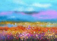 Amazing Wildflower Field Poster Print Size A4 / A3 Flower Poster Gift #12359