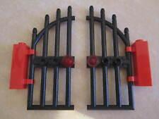 LEGO 2 x CASTELLO AD ARCO porte/sbarrate GATES + Cerniera mattoni corrispondenti COPPIA NERO
