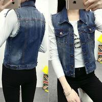 Vintage Womens Slim Short Jean Denim Jacket Coat Sleeveless Vest Waistcoat S-2XL
