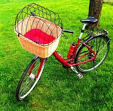 XXL Hundefahrradkorb Fahrradkorb Hundekorb Einkaufskorb mit Gitter Weide +Kissen