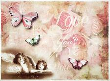 CIALDE di riso-angeli e farfalle love-per decoupage scrapbooking fogli