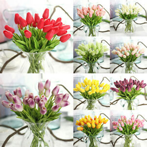 1Pcs Real Touch PU Tulip Artificial Bouquet Flowers DIY For Home Wedding Decor