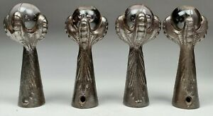 Antique Set of 4 Cast Iron Glass Ball Claw Foot Feet - Piano Stool Bench