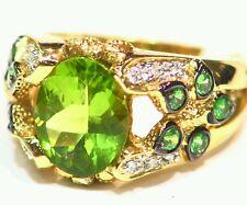 3.77CT 18K Gold Natural Peridot Round Cut White Diamond Vintage Engagement Ring