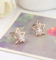 18K Rose Gold GF Lady's Sparkling Element Crystal Cute Star Stud Earrings Gift