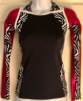 GK ELITE L/S FULL FULL LENGTH CHEER TOP ADULT SMALL HALTER STYLE ZEBRA PRINT AS