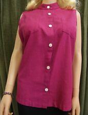 "XL 1X Berry Pink Linen Top Blouse BUST 43"" Raspberry Sleeveless Extra Large"