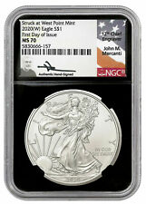 2020 (W) Silver Eagle First Day of Issue NGC MS70 John Mercanti Hand Signed