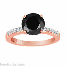 14K ROSE GOLD 1.24 CARAT FANCY ENHANCED BLACK AND WHITE DIAMOND ENGAGEMENT RING