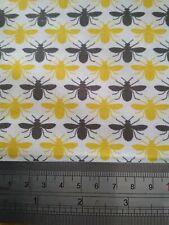 Las abejas Gris Amarillo Tela De Algodón-Quilting, confección, manualidades, costura