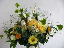 Strauß Blumen Seidenblumen  Rosen Gerbera Dahlie Päonien gelb