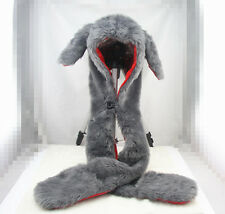 Bunny Rabbit Hood Faux Fur Hat with scarfs mittens & paws Spirit 3 in 1