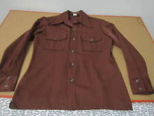 Tobias 70s wide collar heavy shirt jacket brown M disco vtg polyester rayon