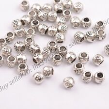 50/100Pcs Antique Tibetan Silver Round Charm Spacer Beads  3MM Hole DB3035
