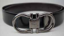 Salvatore Ferragamo Black/Brown Reversible Double Gancini Leather Belt 37.5""