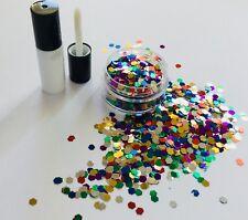 Festival cara/cuerpo/pelo KIT-4ml Pegamento + 3 mm Multi Color Hexagonal Brillo Pote de 10g