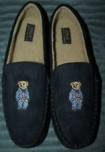 NEW IN BOX Mens (13) POLO-RALPH LAUREN Navy FLAG SWEATER BEAR Moccasin Slippers