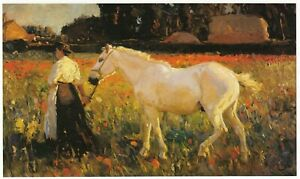 Poppyfield Sir Alfred Munnings vintage horse print in 11x14 inch mount SUPERB