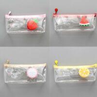 Student Pen Pencil Case Zip Mesh Portable Pouch Makeup Bag StorageTransparent