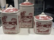 222Fifth Poinsettia Toile Christmas Horse Sleigh 6 Piece Canister Set