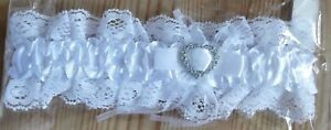 Bridal Hen Party White Lace Garter With Diamante Heart