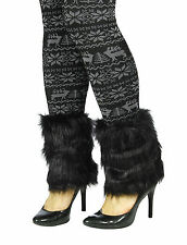 Faux Fur Furry Fuzzy Cuff Leg Warmer Shoe Covers Boot Sleeves One Pair