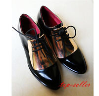 Womens Lady Gold Lace Up Oxfords Pointed Toe Low Heels Formal Dress Court Shoes