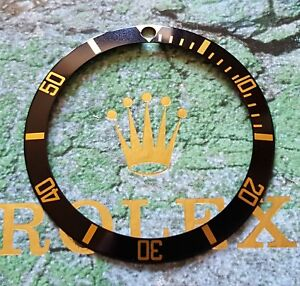 GENUINE Rolex 1980's - 2000's 16613 16618 BLACK/GOLD Submariner Bezel Insert