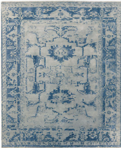 Restoration Hardware Arte Grey / Ocean Blue Hand Knotted Rug 5x7 Wool $3039